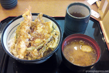 Ebi tempura don - Prawn fritters and rice meal in Tokyo, Japan